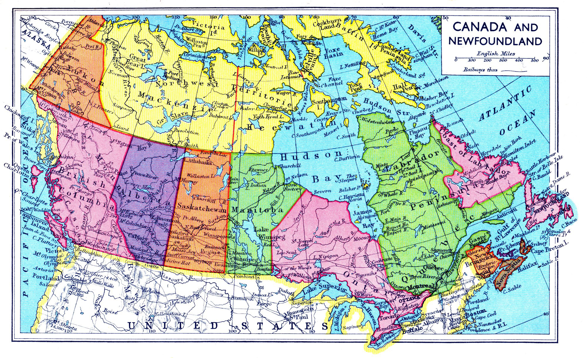 Newfoundland Map Of Canada Large old political and administrative map of Canada and