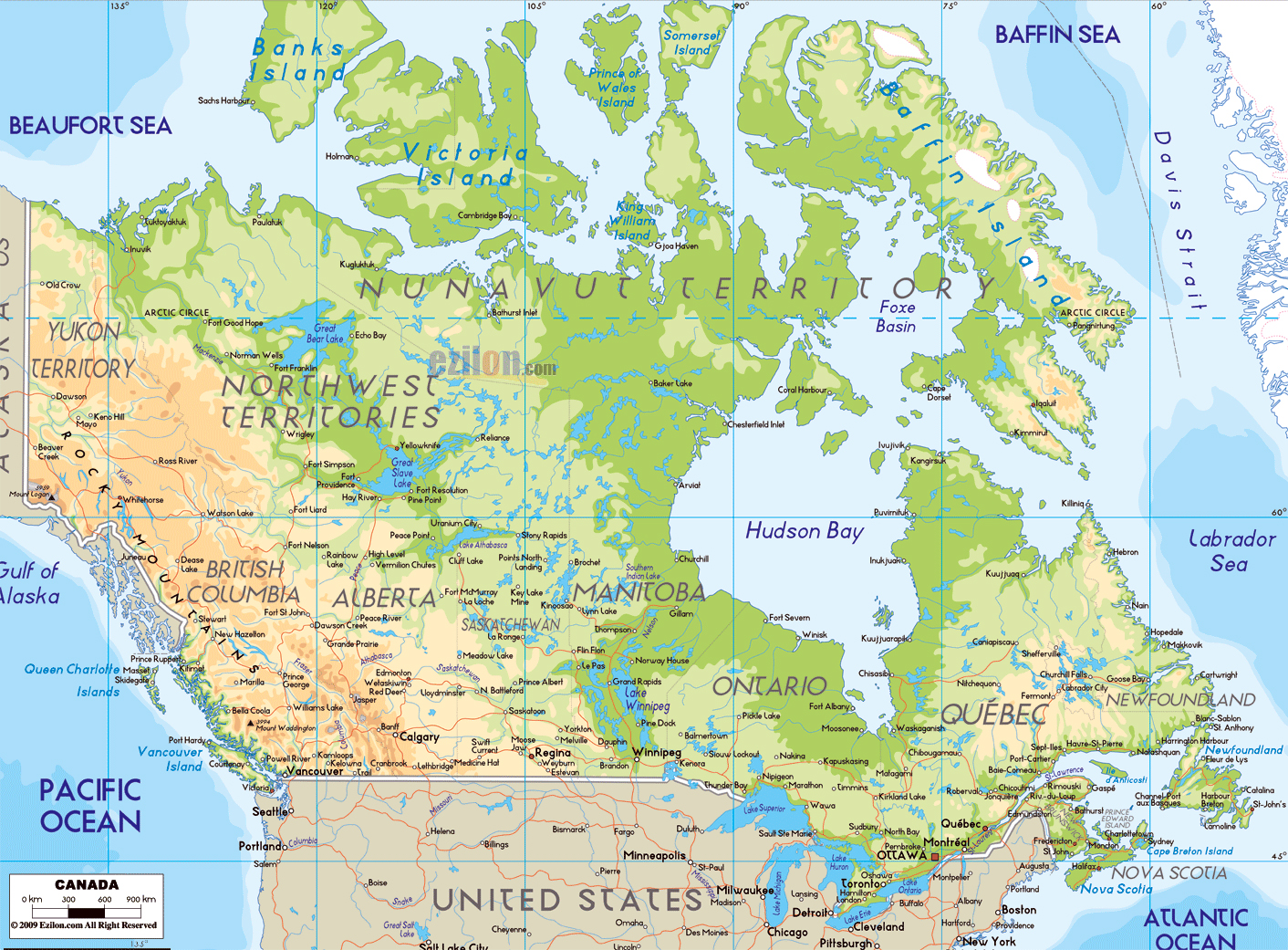 large physical map of canada with roads and cities