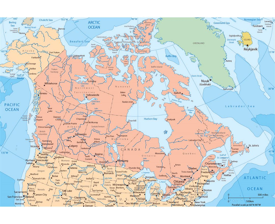 Large political and administrative map of Canada