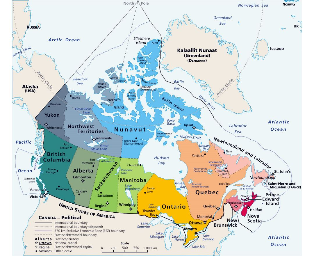 Large political and administrative map of Canada with major cities