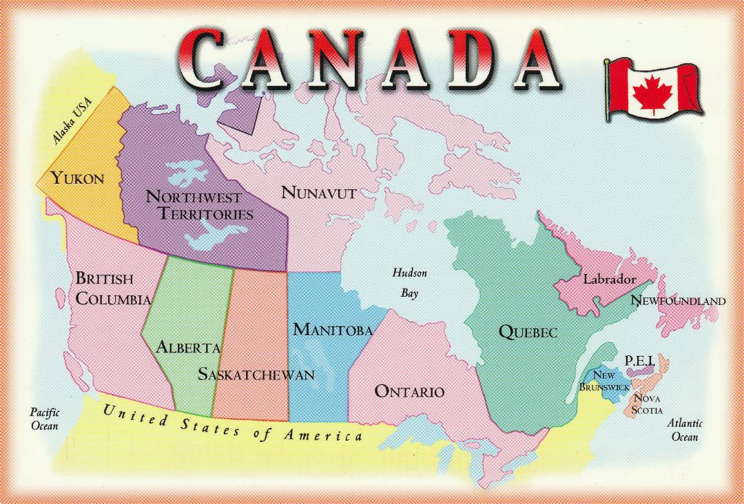 Large political and administrative postcard map of Canada