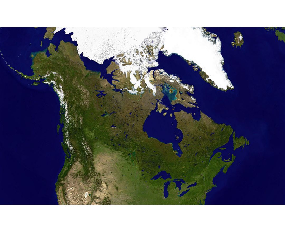Large satellite map of Canada