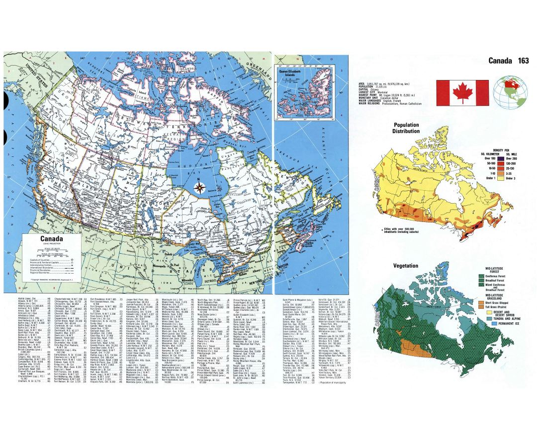 Large scale administartive map of Canada