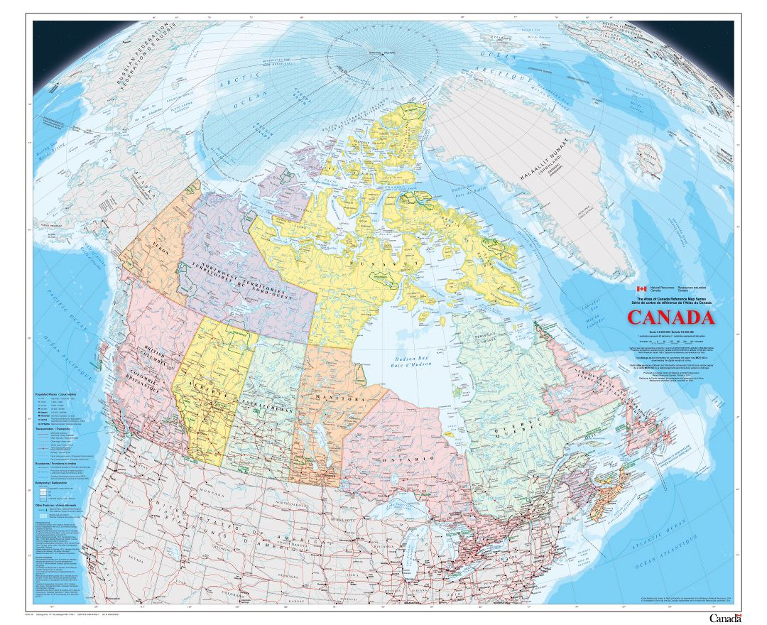 Large scale political and administrative map of Canada with roads, railroads, cities and other marks