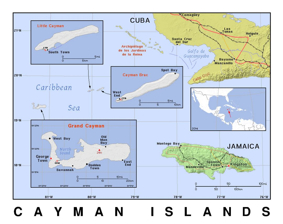 Detailed political map of Cayman Islands with relief