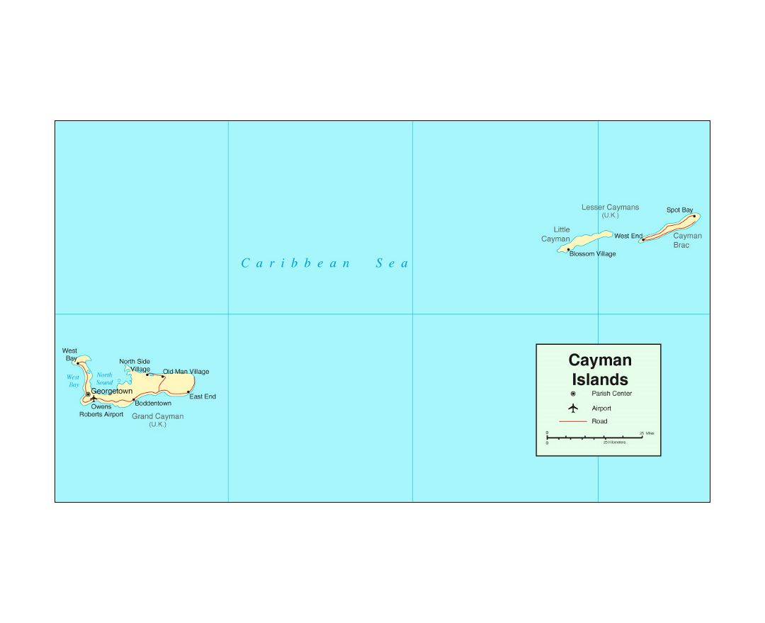 Detailed political map of Cayman Islands with roads, cities and airports