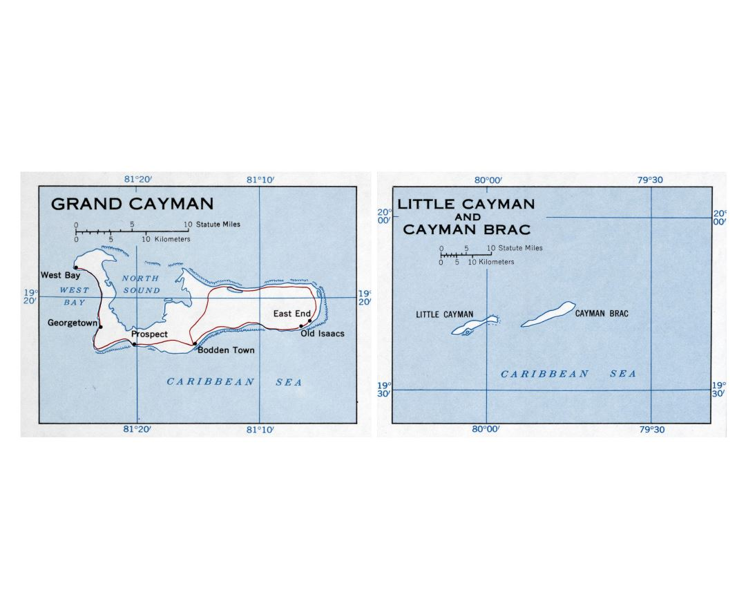 Large detailed map of Cayman Islands with roads and cities - 1958