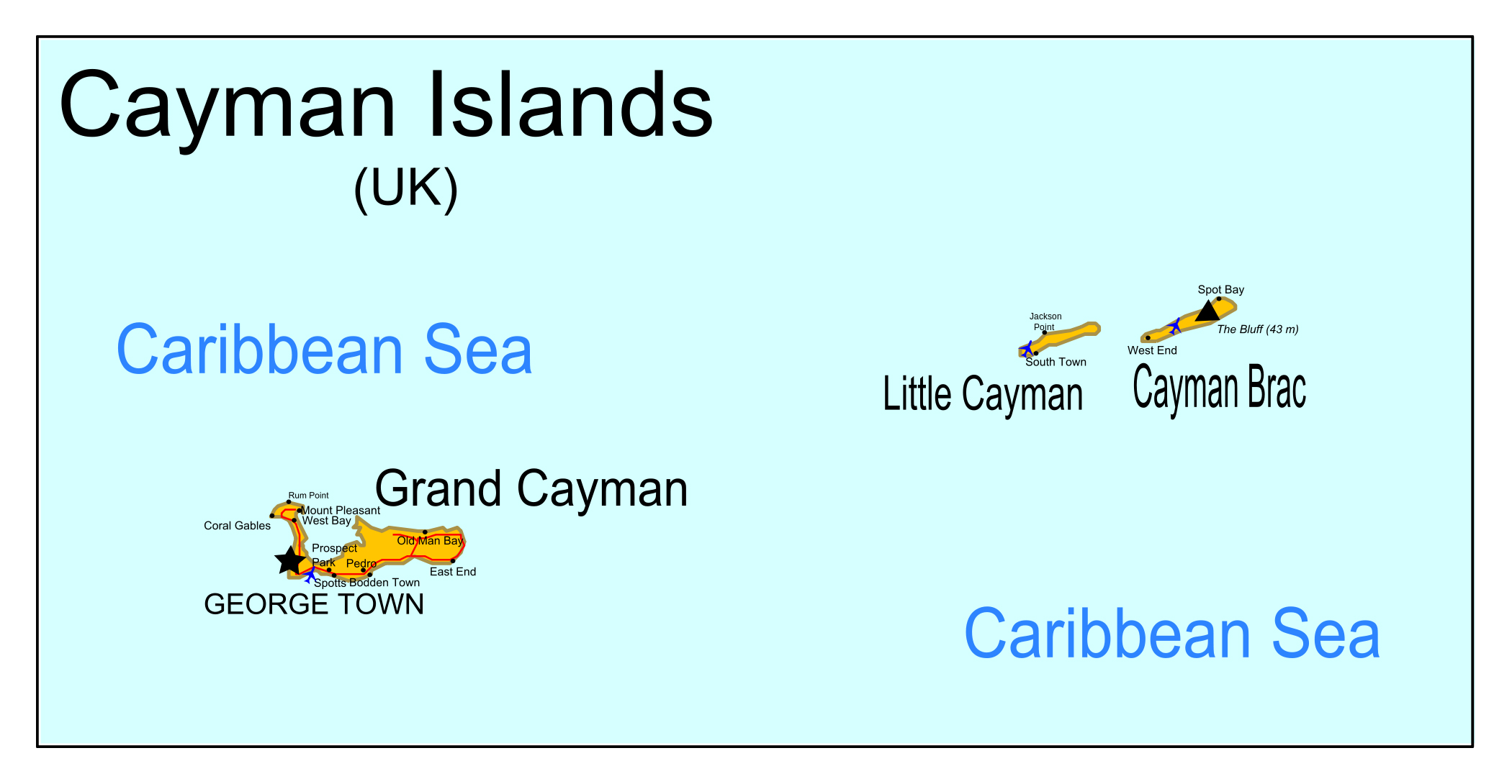 Large detailed map of Cayman Islands with roads cities and airports