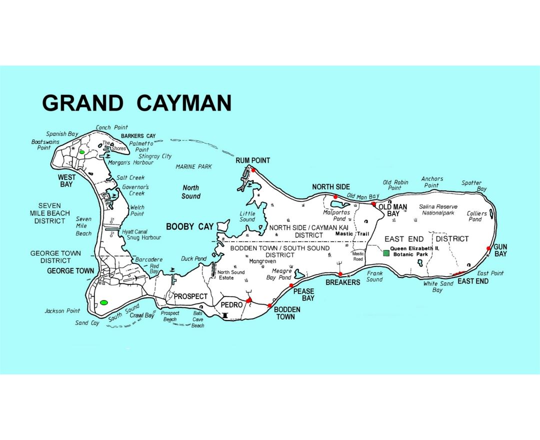 Maps of Cayman Islands Detailed map of Cayman Islands in English