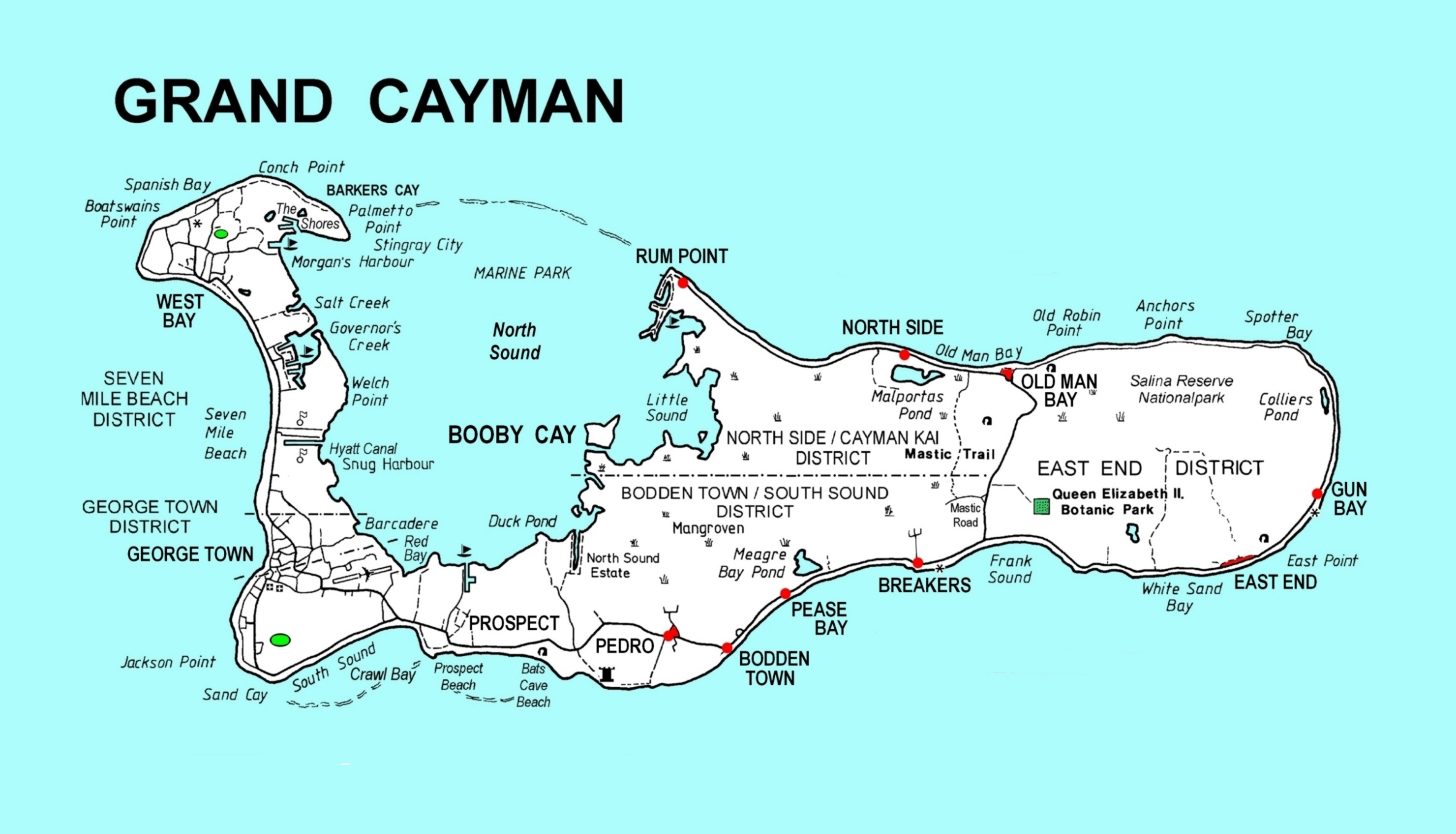 Large detailed map of Grand Cayman with roads and other marks