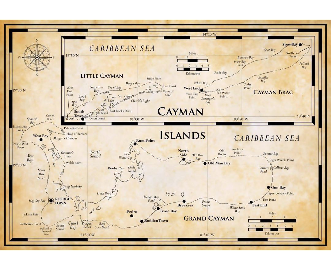 Large map of Cayman Islands in antique style