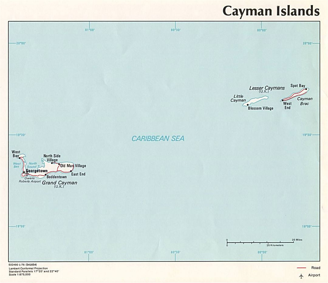 Large political map of Cayman Islands with roads, cities and airports - 1976