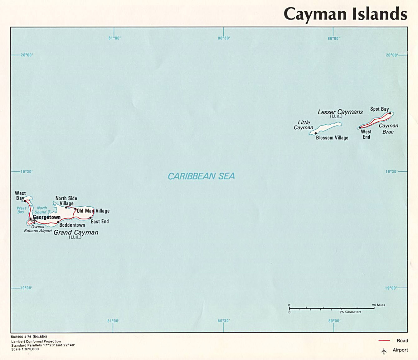 Large political map of Cayman Islands with roads, cities and ... on