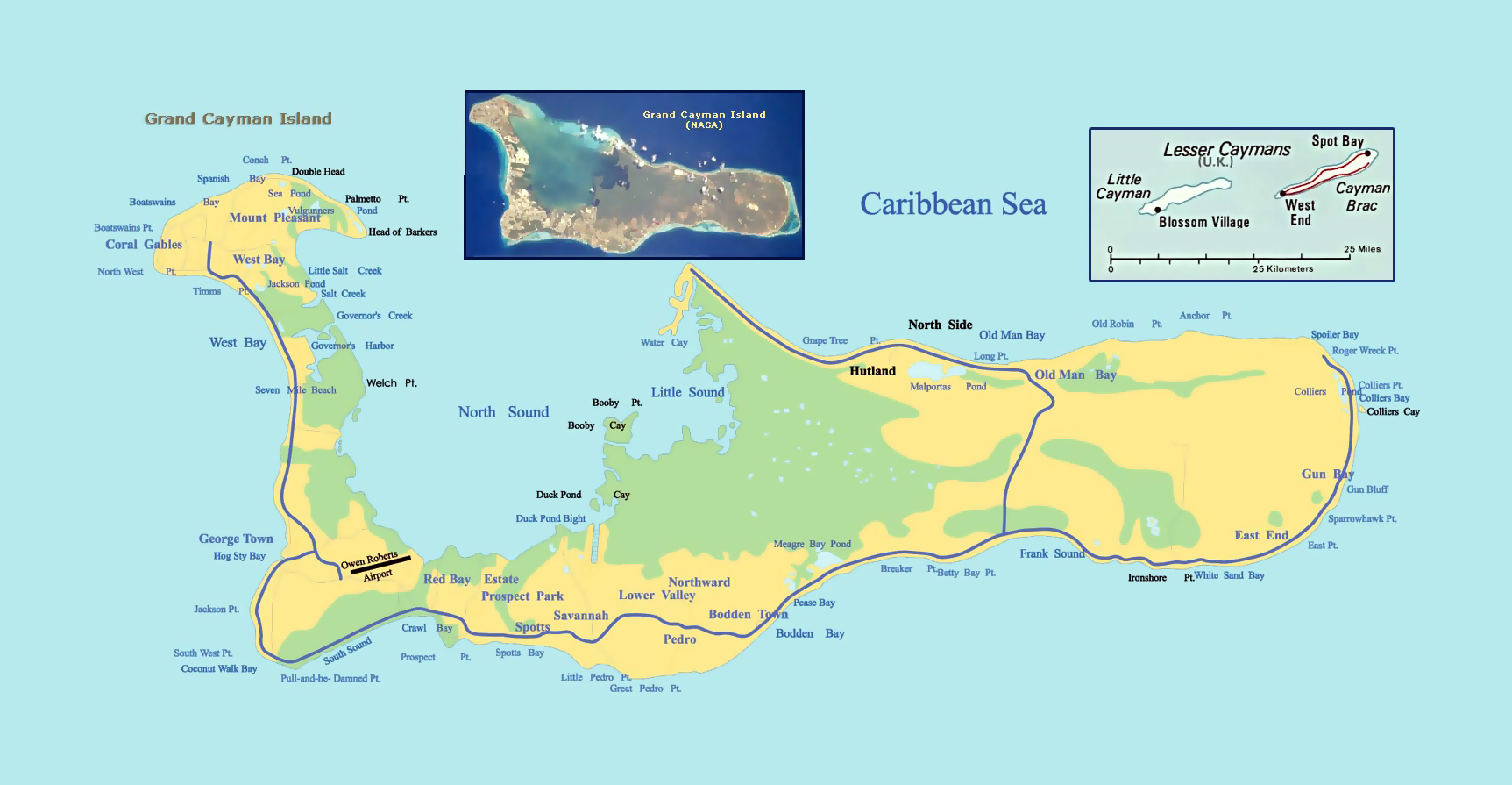 Road Map Of Grand Cayman Island