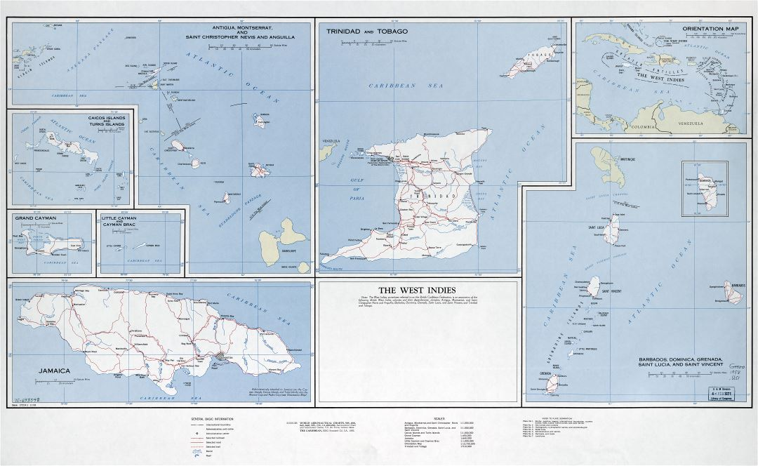 Large scale detailed map of the West Indies with roads, railroads, cities and other marks - 1958