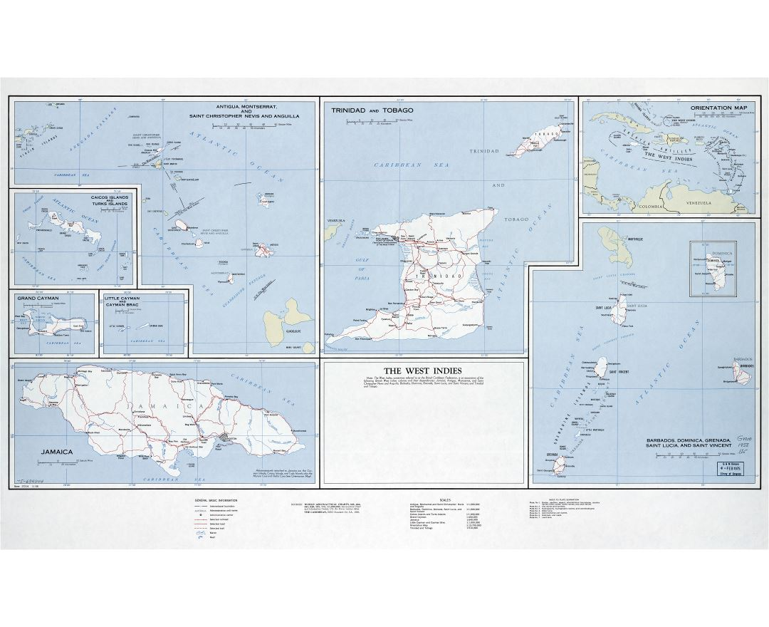 Large scale map of the West Indies with roads, railroads, cities and other marks - 1958