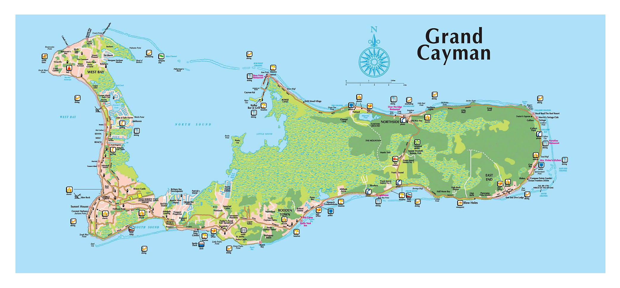 Grand Cayman Map Large tourist map of Grand Cayman island | Cayman Islands | North  Grand Cayman Map
