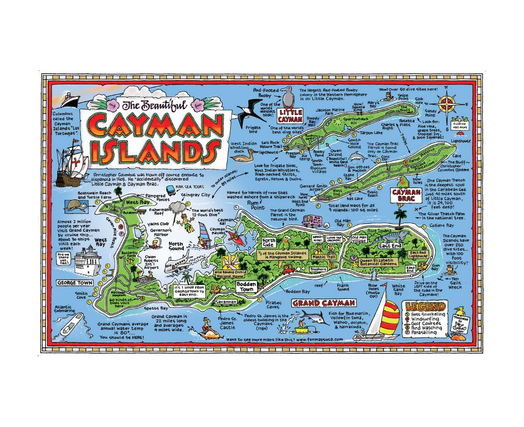 Large travel illustrated map of Cayman Islands