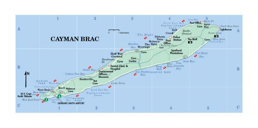 Travel map of Cayman Brac island Cayman Islands North America