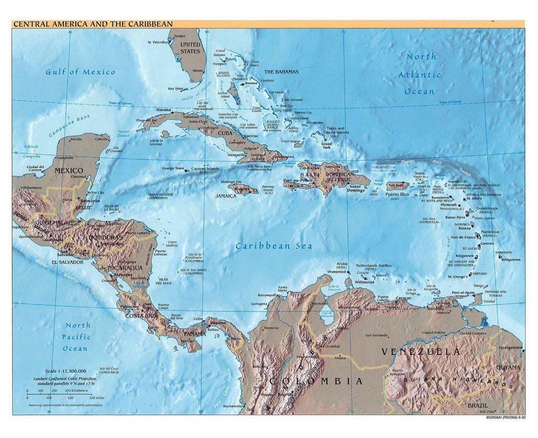 Detailed political map of Central America and the Carribean with relief - 2002