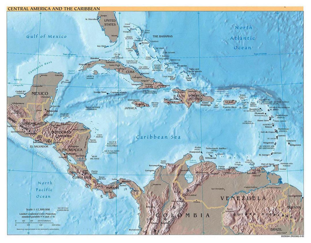 Detailed political map of Central America and the Carribean ...