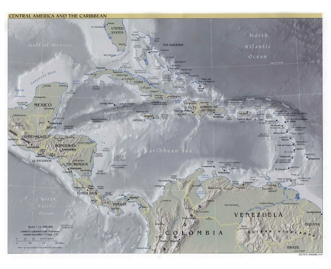Detailed political map of Central America and the Carribean with relief and cities - 2001