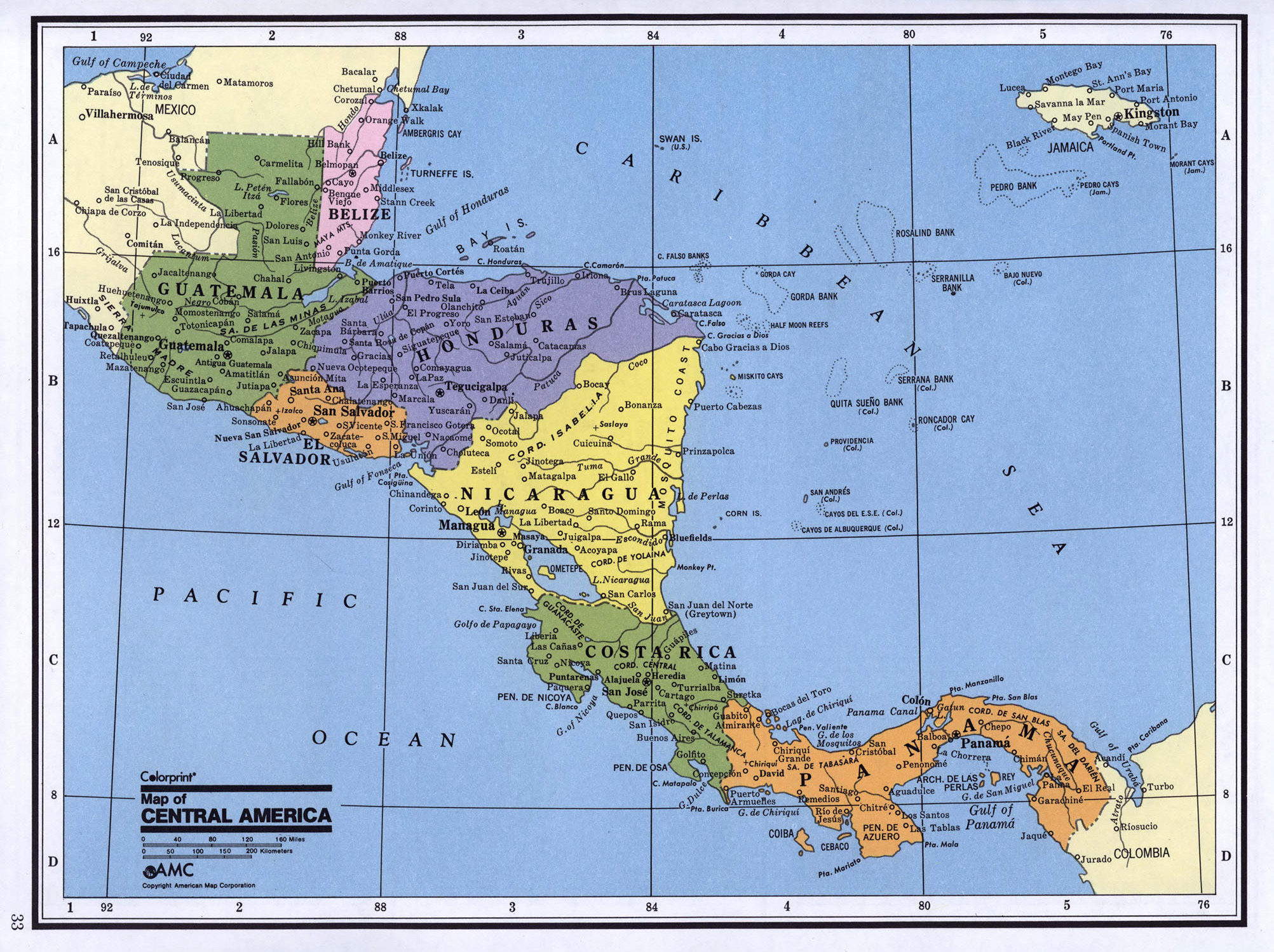Detailed political map of Central America Central America and the