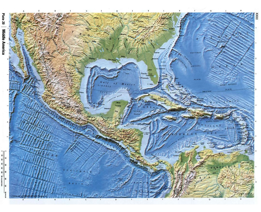 Detailed relief map of Central America