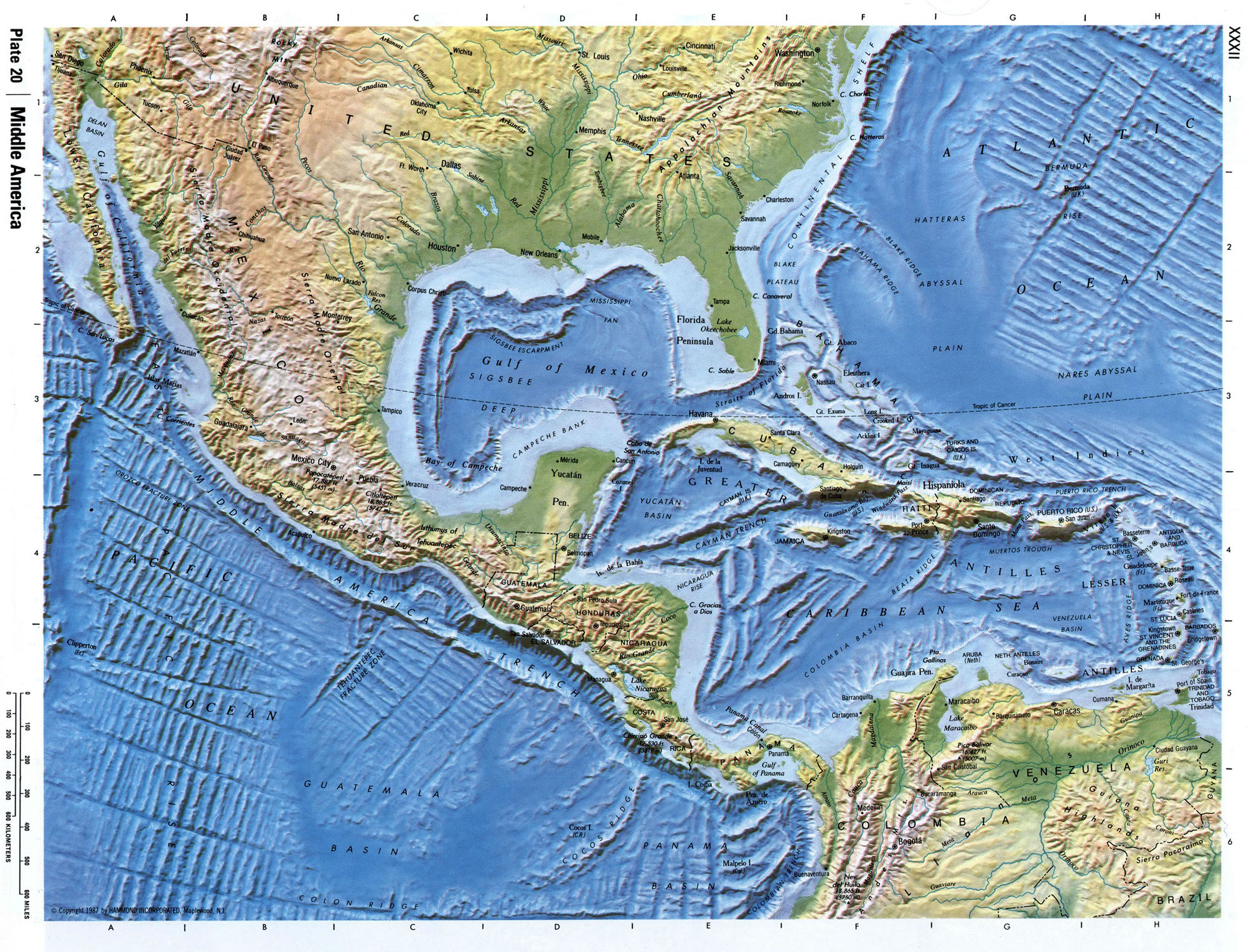 Detailed Relief Map Of Central America Central America And The - North america relief map