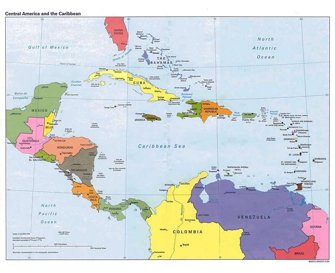 Large Detailed Political Map Of Central America  1995