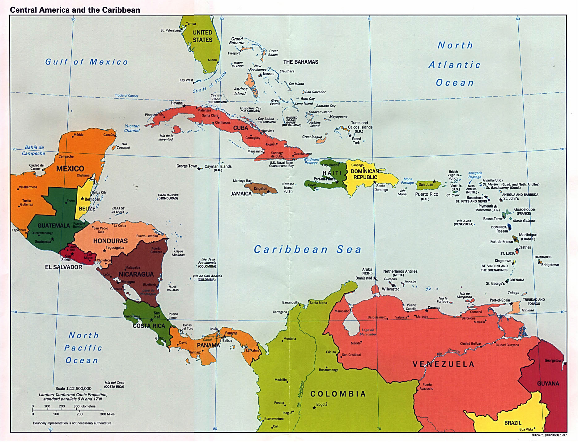 Large detailed political map of Central America with capitals and