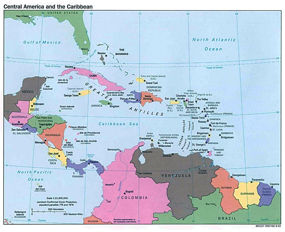 Maps of Central America and the Caribbean | Collection of maps of ...