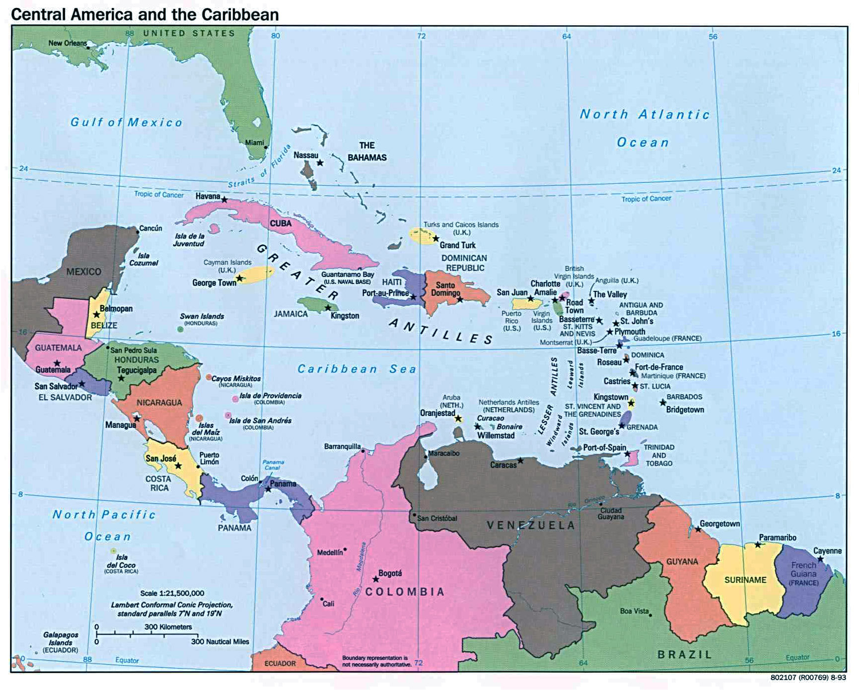 Large political map of central america and the carribean with large political map of central america and the carribean with capitals 1993 gumiabroncs Choice Image