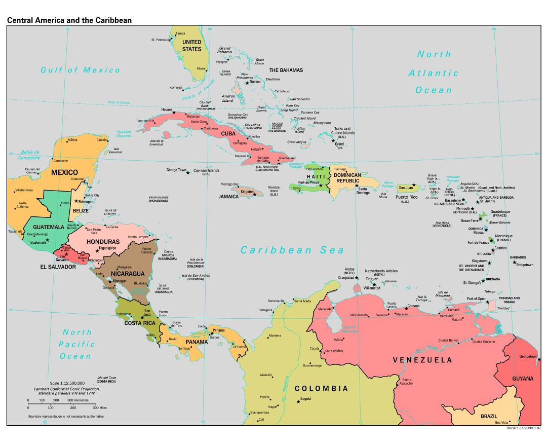 Large scale political map of Central America and the Carribean - 1997