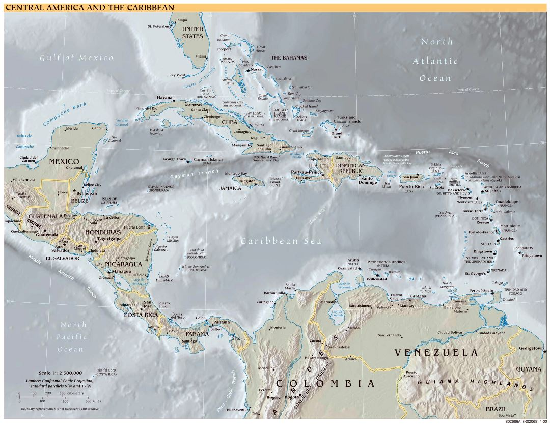 Large scale political map of Central America and the Carribean with relief - 2000