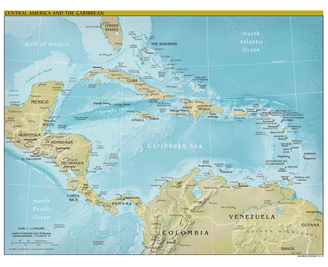 Large scale political map of Central America and the Carribean with relief - 2010