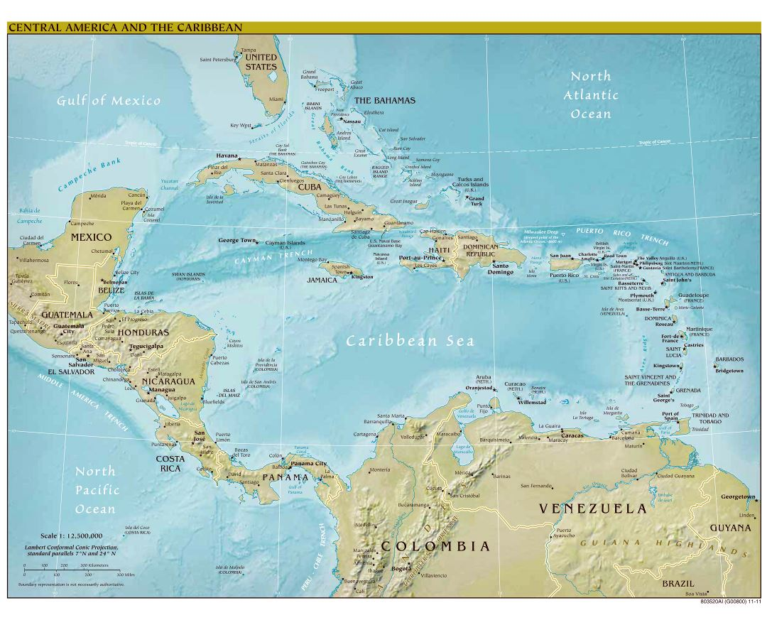 Large scale political map of Central America and the Carribean with relief and capitals - 2011