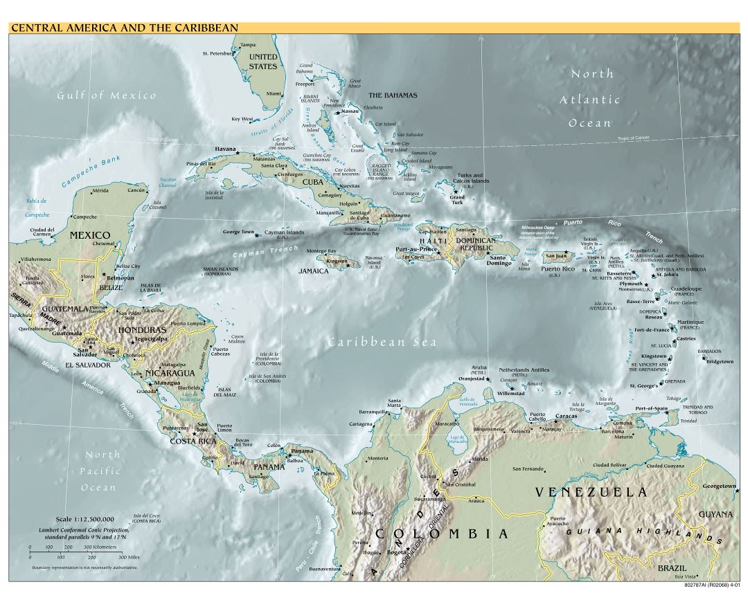 Large scale political map of Central America and the Carribean with relief, major cities and capitals - 2001