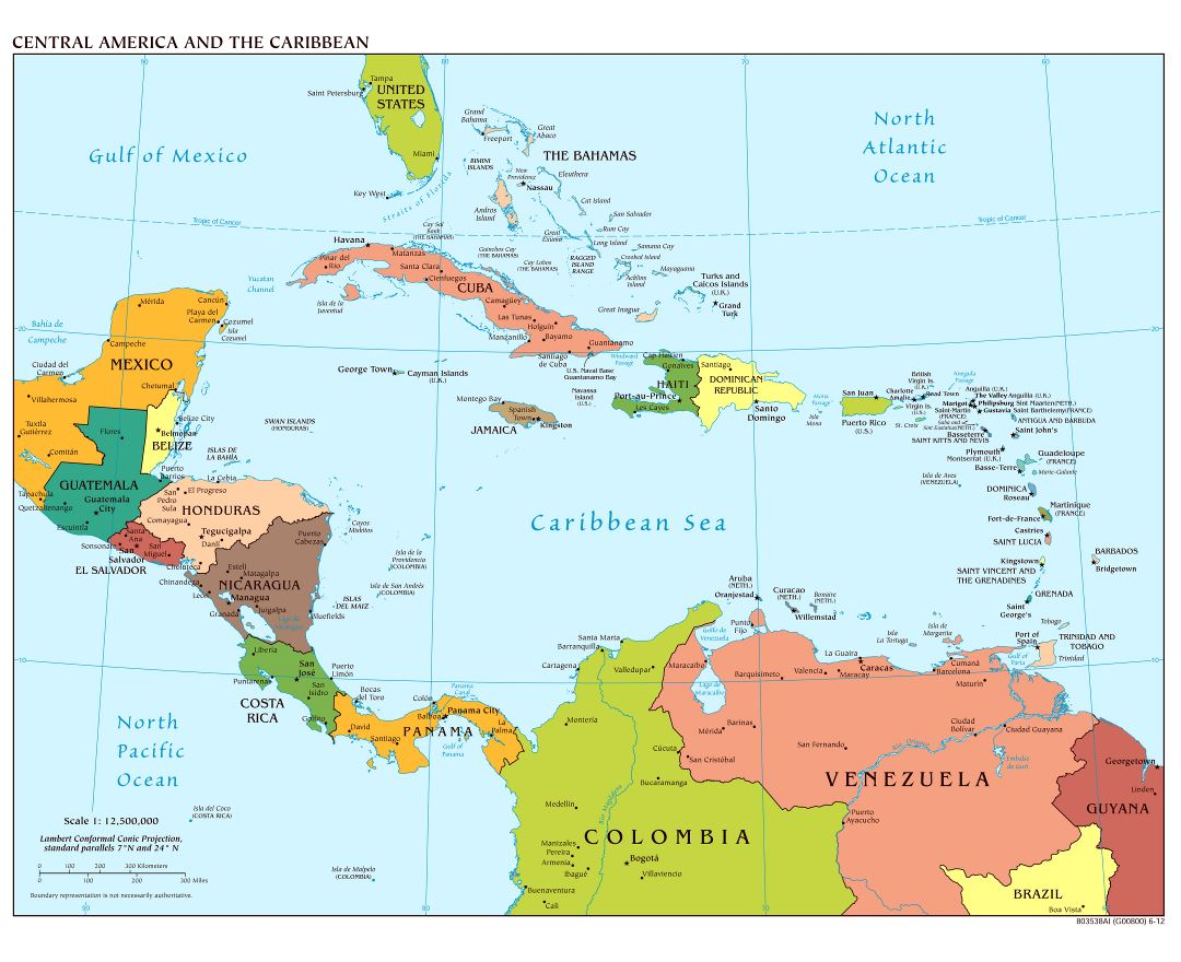 Large scale political map of Central America with major cities - 2012