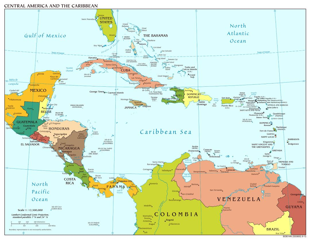 Large scale political map of Central America with major cities and capitals - 2013