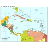 Large detailed political map of Central America with capitals and ...