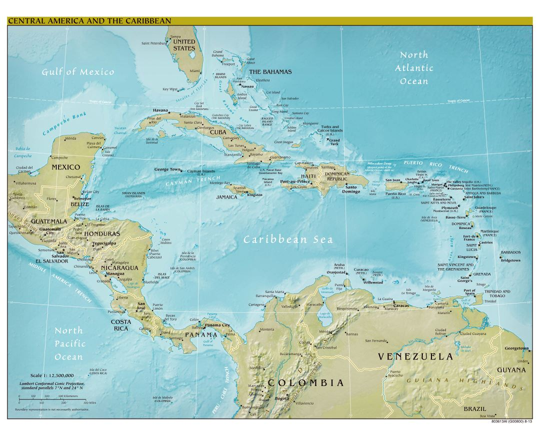 Large scale political map of Central America with relief, major cities and capitals - 2013