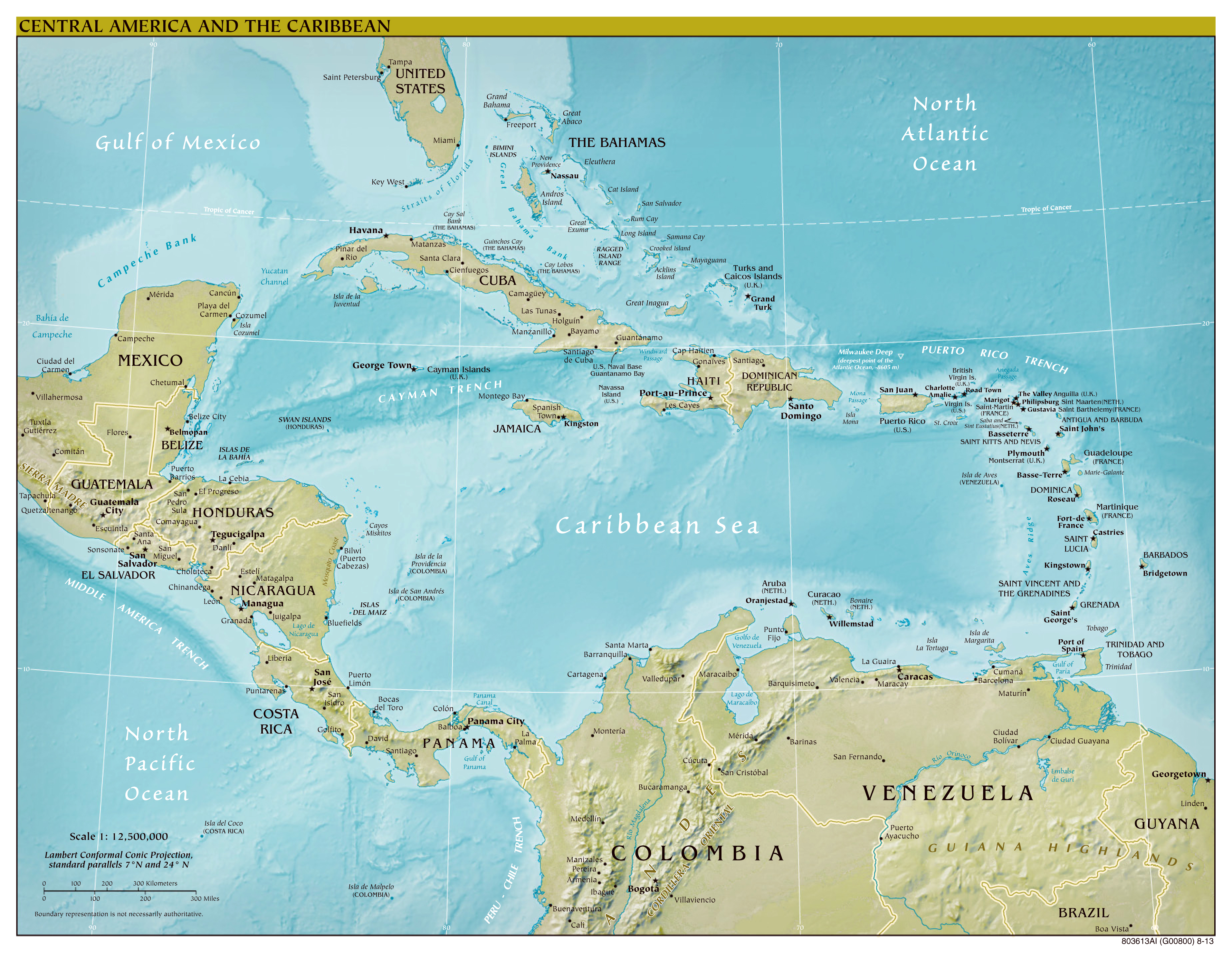 Large scale political map of Central America with relief major
