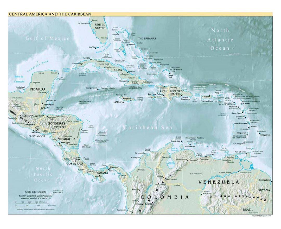 Political map of Central America and the Carribean with relief - 1999