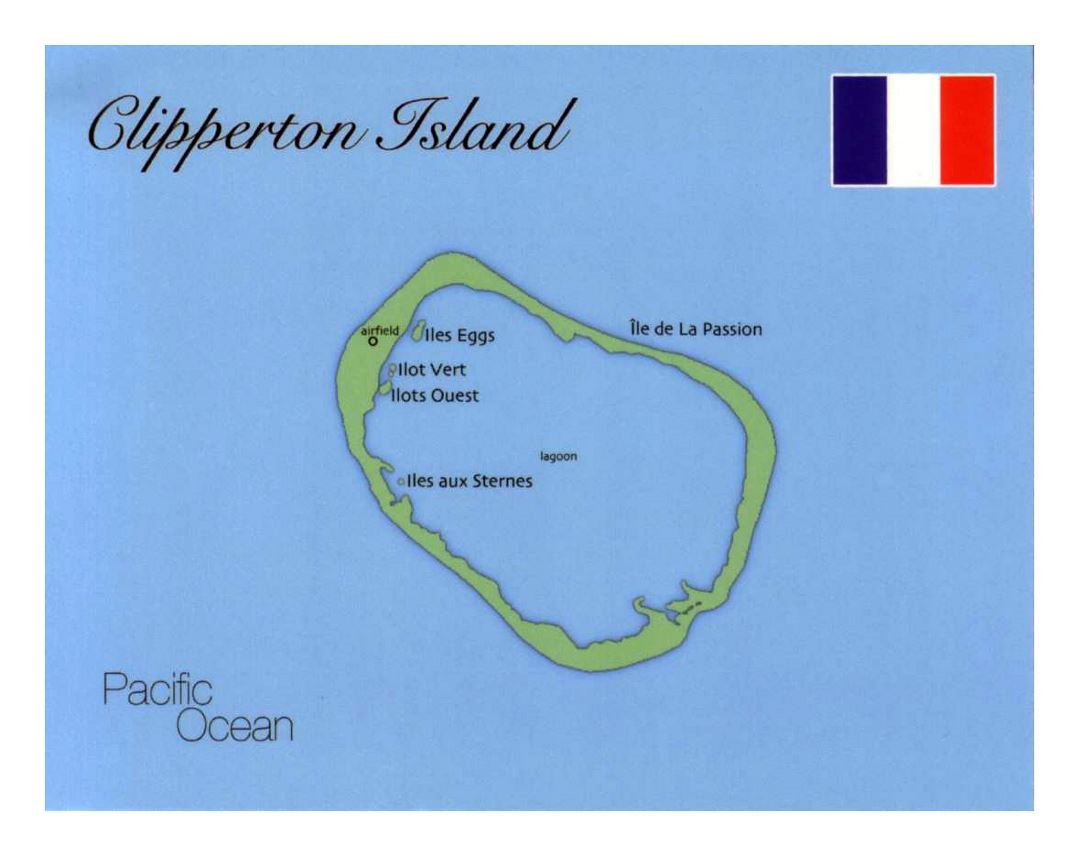 Detailed map of Clipperton Island with flag