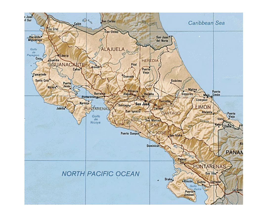 Detailed administrative map of Costa Rica with relief, roads and cities