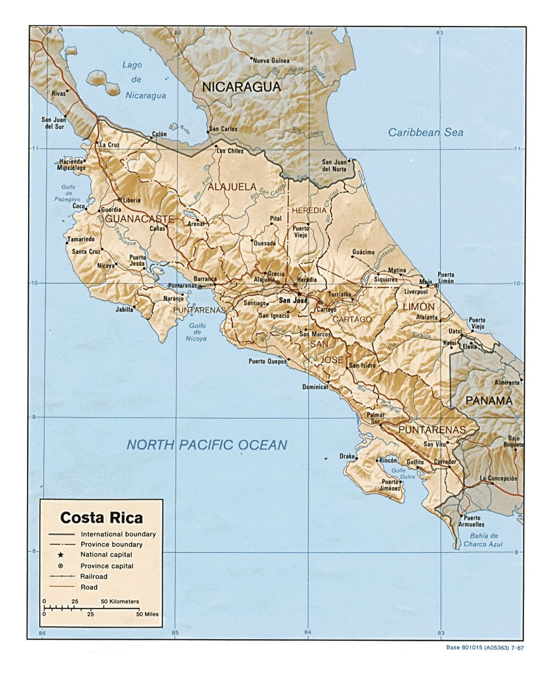 Detailed political and administrative map of Costa Rica with relief, roads, railroads and major cities - 1987