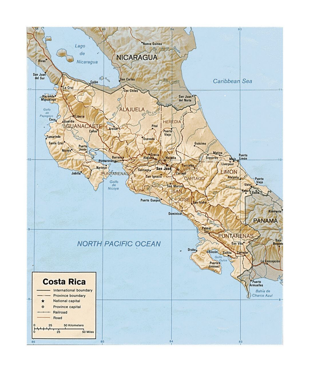 Detailed political and administrative map of Costa Rica with relief, roads, railroads and major cities