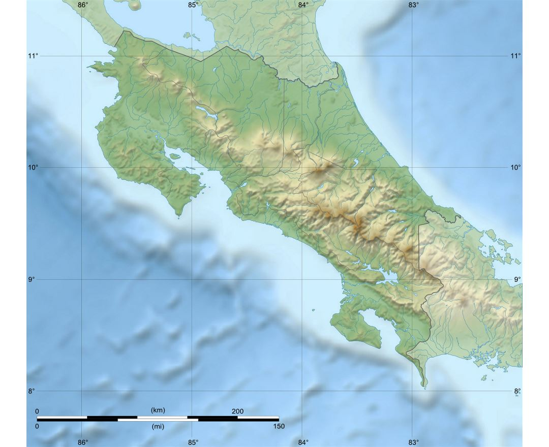 Detailed relief map of Costa Rica