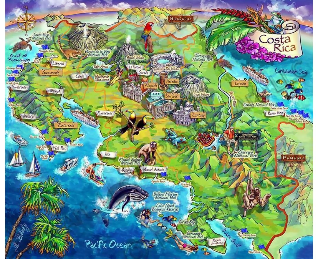 Detailed tourist illustrated map of Costa Rica